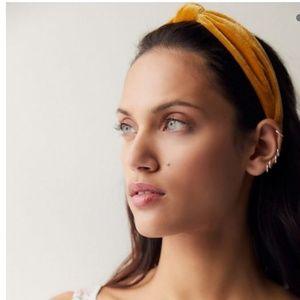 Gold / mustard yellow velvet knot headband